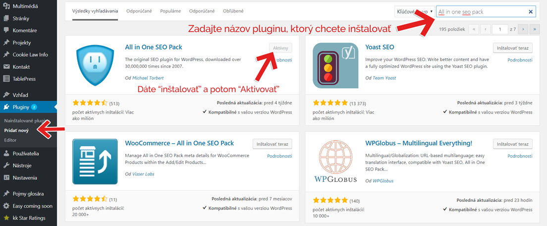 inštalujeme wordpress plugin